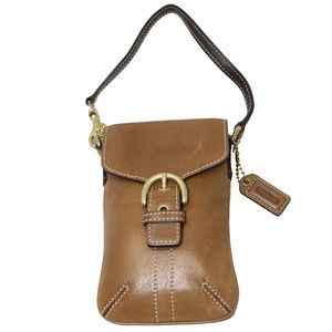 Coach Cell Phone Wristlet in Brown Leather